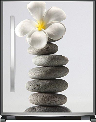 Wallario Kühlschrank-Aufkleber / Geschirrspüler-Aufkleber, selbstklebende Folie für Küchenschränke - 65 x 80 cm, Motiv: Blume auf gestapelten Steinen