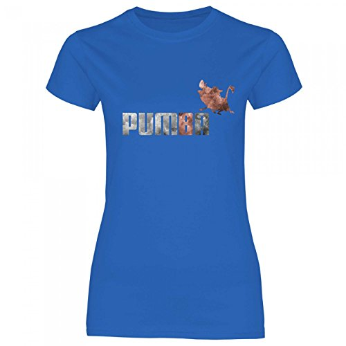 Royal Shirt rs90 Damen T-Shirt Pumba | lustiges, Cooles Funshirt, Geschenkidee, Größe:L, Farbe:Royal