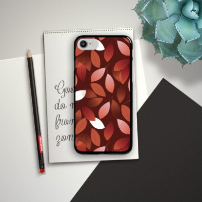Apple iPhone SE Hülle Case Handyhülle Herbst Blätter Bronze Hard Case schwarz