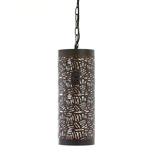 Emporio Arts EMPORIO marocain fait main pour lampe à suspension en forme de tuyau en fer Zebra gravure, de couture, noir à l'intérieur or, E27, 40 Watts