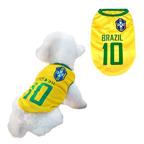 l Jersey T-Shirt für Hunde Katzen Kostüme Haustier Weltmeisterschaft Weihnachtsmannkostüm Kleidung Haustierhundekleidung Brasilien (M, Gelb) (Brasilien Kostüme)