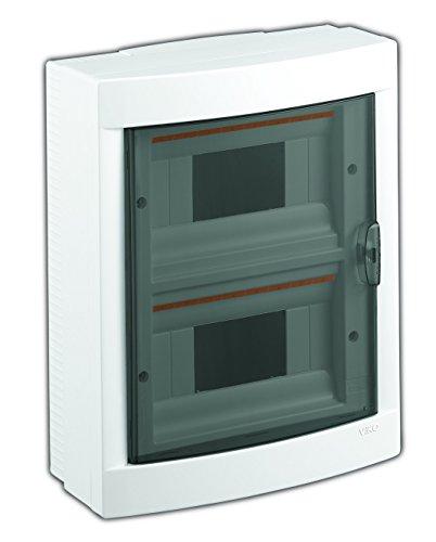 Aufputz Kleinverteiler 16 Module/Sicherungskasten / Verteilerkasten Aufputz IP40, 2-reihig mit Hutschiene + PE/N Klemmen