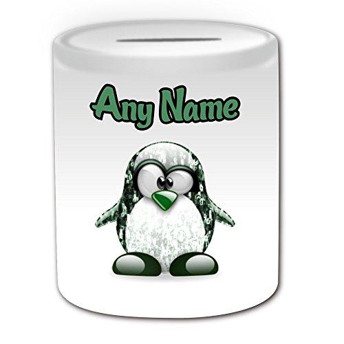 Personalisiertes Geschenk–Die Matrix Neo Spardose (Pinguin Film Charakter Design Thema, weiß)–Jeder Name/Nachricht auf Ihre Einzigartiges–Kostüm Film Superheld (Kostüme Matrix Neo)
