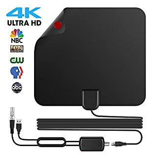 TV Aerial 70 Miles Amplified HD Digital Indoor TV Aerial with 16.2 FT Coax Cable and Detachable Signal Booster, 4K 1080P HD TV Antenna Freeview Channels for All Types Built-in Tuner Home Smart TV