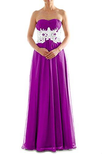 MACloth Women's Strapless Long Lace Chiffon Prom Dress Formal Party Ball Gown Fuchsia