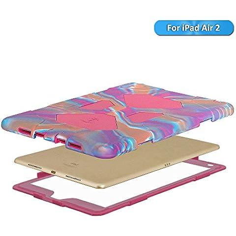 Apple iPad Air Funda–Silicona aceguarder [Shockproof] resistente golpes Prueba de Niños de silicona con protector de pantalla integrado Carcasa Protectora, Pink Camo/Rose, iPad Air 2 / iPad 6