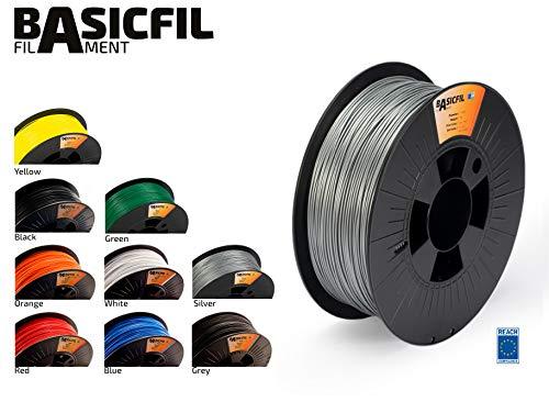 BASICFIL PLA 1.75mm, 1 kg filamento de impresión 3D, Plata