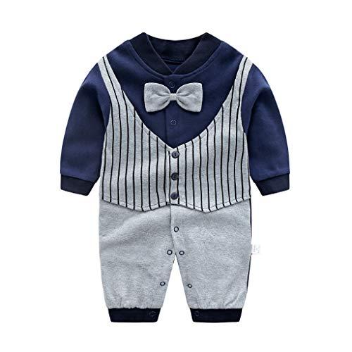 ShenzhenWindyTradingCo.,Ltd Neugeborenes Strampler Langarm Pyjama Baumwolle Overalls Gentleman mit Bowknot Outfits 0-3 Monate