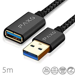 5m Nylon USB 3.0 Verlängerung schwarz, A-A USB Verlängerungskabel mit eleganten Alluminiumsteckern, Nylon Stoffmantel & Kabelklett