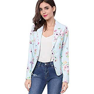 Allegra K Women's Summer Long Sleeve Open Front Floral Print Blazer Suit Jacket Blue S (UK 8)