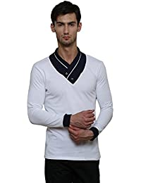 Le Bourgeois White Color Shawl Collar Cotton T-shirt For Men