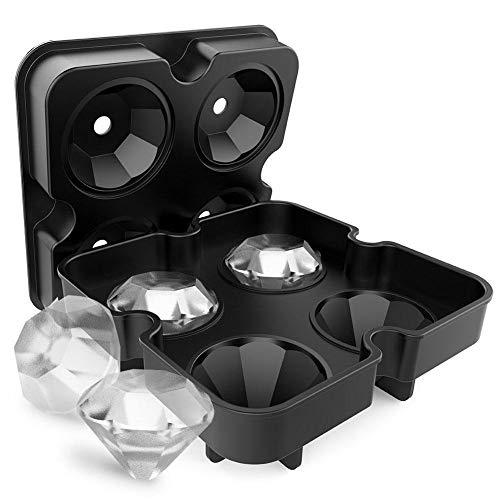 Eisförmchen aus Silikon 3D Diamant Form Cocktail Whisky Ice Ball Maker Eiswürfelform Tablett 4 Große Hersteller Eis-Accessoires Küchenleiste