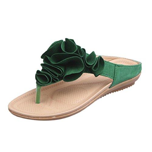 Damen Sandalen,Sannysis Sommer Strand Flipflops der Frauen Beiläufige Flache Schuhe Dame Pretty Floral Sandals Casual Aushöhlen Schuhe Flip Flops Schuhe Hausschuhe Böhmen (38, Grün) (Puma Stiefel Für Frauen)