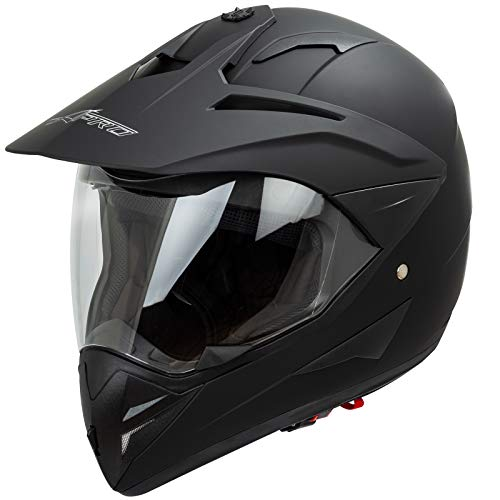 Casco Moto Cross Enduro Trial Quad Off Road Visiera Anti Nebbia Nero Opaco L