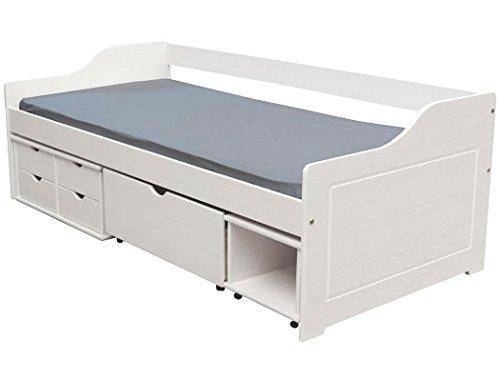 KMH, Massivholz Kojenbett/Kinderbett/Jugendbett mit Bettkasten, Schubladen und Nachttisch (200 x 90 cm/Incl. Lattenrost/weiß) (#201105)