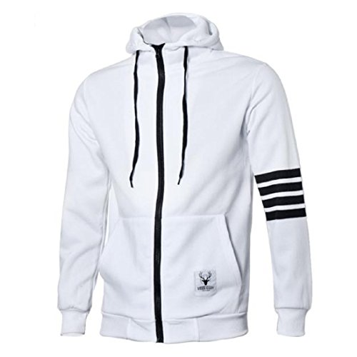 Internet Men Hoodies Sweatshirt Casual Zipper Hooded Jackets Sports Suit (L, White)