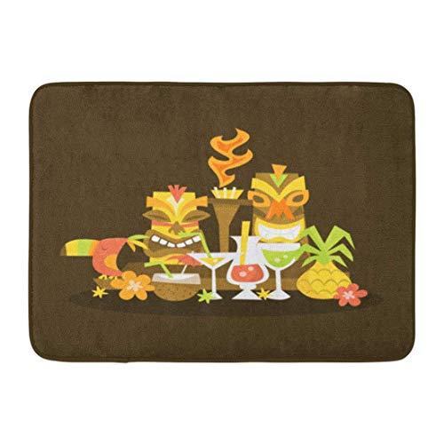 LIS HOME Fußmatten Bad Teppiche Outdoor/Indoor Fußmatte Cocktail von Luau Tiki Party Herzstück Hawaiian Torch Ananas Vogel Badezimmer Dekor Teppich Badematte