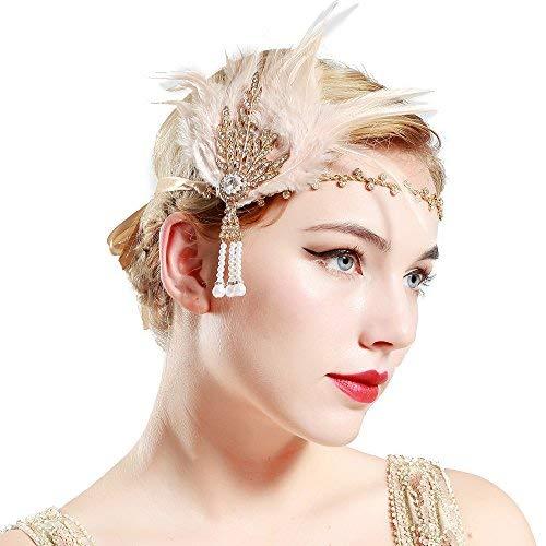 BABEYOND Damen Feder Stirnband 1920s Stil Flapper Art Deco Inspiriert von Great Gatsby Blatt Blinkende Kristalle Haarband ()
