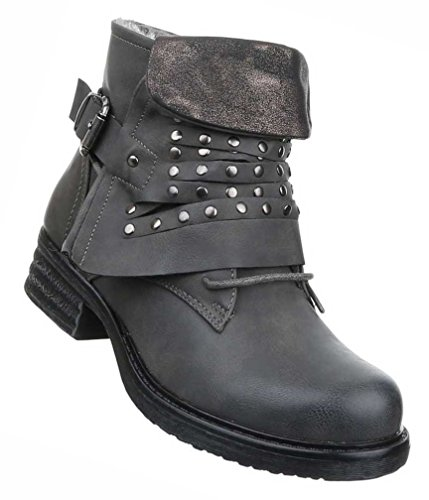 fe922ff898d2b0 Damen Boots Schuhe Gefütterte Stiefeletten Mit Nieten Schwarz Braun Beige  Grau Rot 36 37 38 39