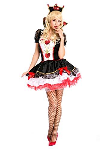 Der Kostüm Königin Herzen Halloween - FHSIANN Halloween Kostüme Adult Womens Poker Red Königin der Herzen Kostüm Kleid KarnevalParty Queen Kostüme für Frauen