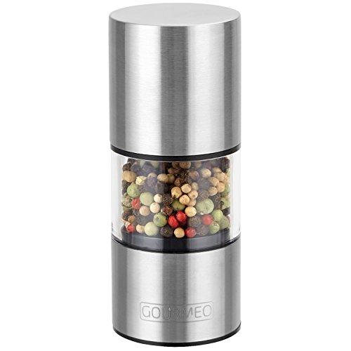 GOURMEO Gewürzmühle mit Keramikmahlwerk und hygienischem Acrylglas, rostfrei | 2 Jahre Zufriedenheitsgarantie | Pfeffermühle, Salzmühle