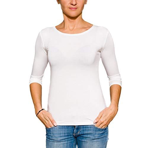 Alkato Damen Shirt 3/4 Arm Rundhalssusschnitt Stretch, Farbe: Weiß, Größe: L