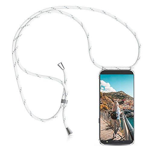 XCYYOO Handyanhänger Hülle für Samsung Galaxy J5 2017 J530,Pouch Bag Mode-Accessoire Handytasche Smartphone Necklace HandyHülle mit Band - Schnur mit Case zum umhängen in Silber