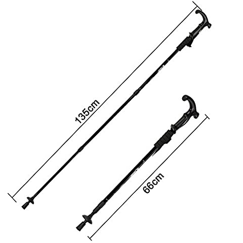 Ezyoutdoor 2 pieces Telescopic Hiking Trekking Sticks Poles Pole with for Man Women in Climbing Rocks or Boulders Backpacking Tent Aluminum Alloy 3 Sections Lock