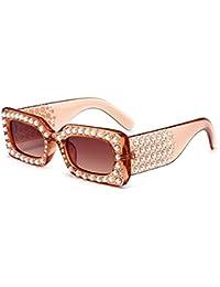 c82371fea9 Forma Cuadrada pequeña Perlas de Cristal Marco Completo Gafas de Sol para  Mujer protección UV para