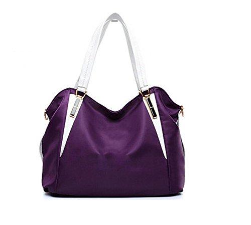 Nylon Spalla Delle Donne Del Sacchetto Di Mano Tote Bag Purple