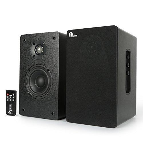 1byone Powered Fernbedienung Klassischer Bluetooth Bücherregal Lautsprechersystem 2 x AUX-Eingang 4 Zoll Woofer und 1 Zoll Hochtöner 2 x 30W RMS Schwarz -