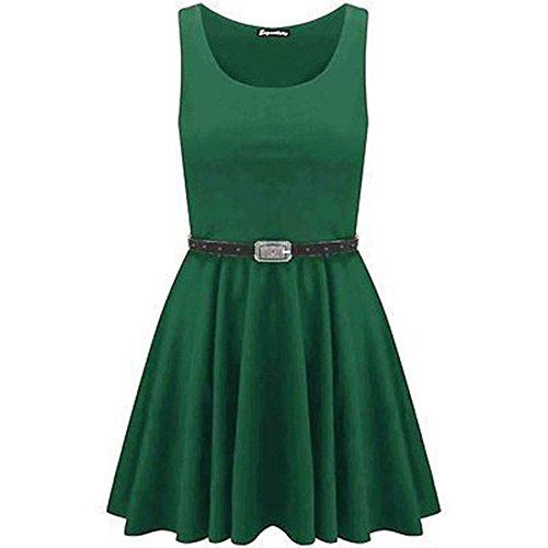 Janisramone vestito donne pattinatore cintura maniche partito franki svasata dimensione superiore 8-26 Giada Verde