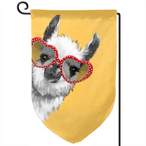 Lilyo-ltd Fashion Hipster Lama mit Brille, Gartenhof Flagge, 31,75 x 45,7 cm, doppelseitig, Polyester