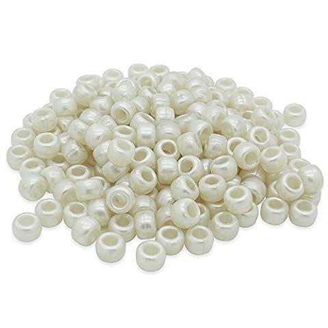 Beads Unlimited Bath Pearl Plastic Barrel Pony, Cream, 6 x 8 mm