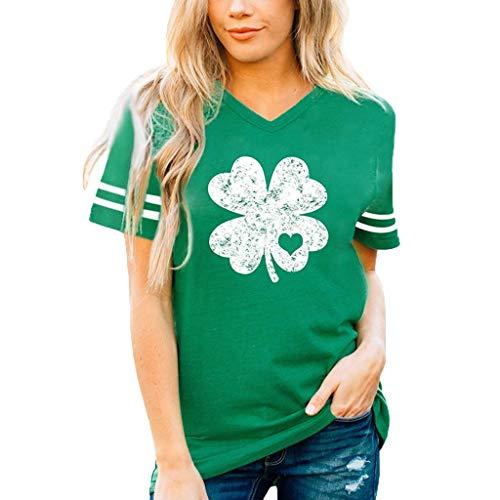 St. Patrick's Day Sommer Damen Fashion Tops ♥ Loveso♥ Frauen Grünes T-Shirt mit V-Ausschnitt Kurze Ärmel Top Blouse