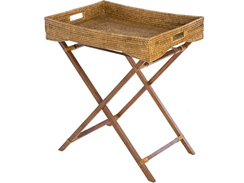 kouboo La Jolla Rattan Butler Tablett mit Ständer klappbar Holz, Honig Braun P Tropisch 66.040000000000006 x 44.45 x 73.66 cm Honigbraun (Tray Butler)