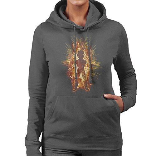 Super Saiyan Ki Blast Vegeta Dragonball Z Women's Hooded Sweatshirt Charcoal