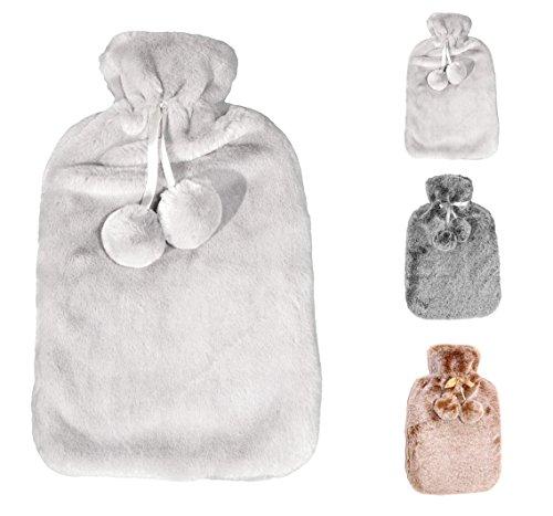 Wärmflasche mit dicken, cashmereweichen, luxuriösen Bezug | 2 Liter Fassungsvermögen | Flauschig, zarte Wärmflasche | Geprüft und frei von Schadstoffen | von Soft & Cosy (Light Silver Grey)