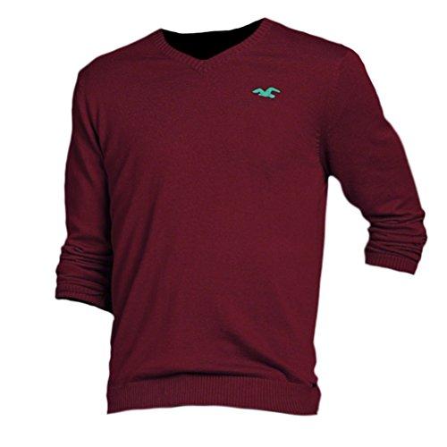 hollister-mens-slim-fit-v-neck-sweater-jumper-pullover-size-l-burgundy-617744296
