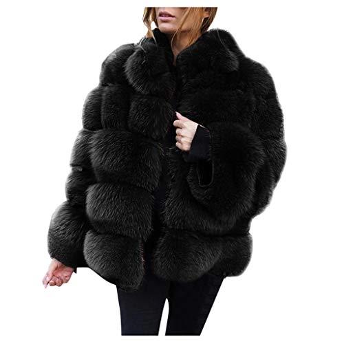 Bazhahei giacca donna,autunno inverno cappotti di visone da donna cappotti invernali di nuova giacca in pelliccia sintetica con cappuccio (black 1, s)