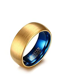 K Mega Jewelry 8MM Tungsten Mens Ring Gold Blue