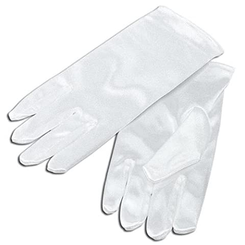 Kids Short White Satin Gloves
