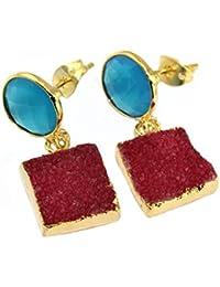 Zeva Jewels Red Sugra & Chalcedony Druzy Gold Plated Earring For Women / Girls
