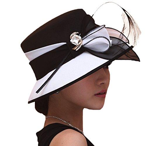 June\'s Young Damen-Hüte Chiffonhut eleganter Hut Schmuck Blumen (schwarz)
