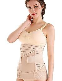 Aibrou 3 en 1 Faja Post-Patro, Faja Transpirable Maternidad Elástica, Cinturón Efectiva Recuperación Postpartos para Abdomen/Cintura/Cadera