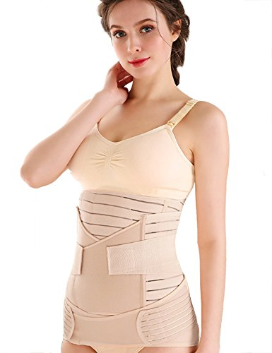 Mutterschaft Gürtel (Aibrou Damen 3 in 1 Postpartale Unterstützung für Mutterschaft Korsett Trainer Gürtel Waist Training Belt Bauch Weg Taillenmieder Shapewear Beige, Medium)