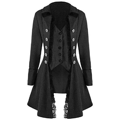 CuteRose Women's Double Button Fake Two Pieces Lace Trim Trench Swing PEA Coat Black 2XL