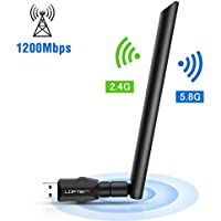 Adattatore Antenna WiFi USB 1200 Mbps LOFTER Antenna Wi-Fi USB 3,0 Chiavetta WiFi USB Adapter 5dBi Dual Band (5.8G/866Mbps+2.4G/300Mbps), Ricevitore Wifi per PC/Laptop, e per Windows/Vista/Mac