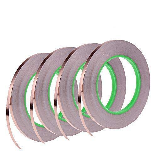 Paquete de 4 cintas de lámina de cobre con adhesivo conductor para EMI: apantallamiento, repelente de insectos, circuitos de papel, reparaciones eléctricas, tierra