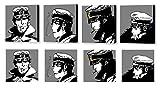 MAUSI CREATIONS - Corto maltés Set Stock 4Cuadros-impresión Sobre Lienzo, Stretched Canvas Print, Druck auf keillenwand, Impression Sur Toile-reproducciones por Los pintadas Originales